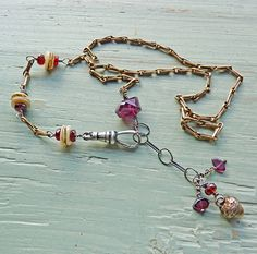 garnet and mother of pearl prologue necklace by ninabagley on Etsy