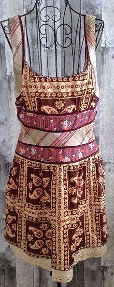Free People Plaid Paisley Floral Dress Boho Festival Lace Lined Sleeveles 10 #FreePeople