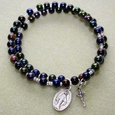 coil memory wire wrap rosary bracelet