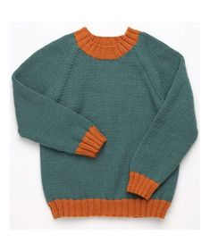 Baby Knitting Patterns Jumper Free Knitting Pattern for a Classic Kid& Pullover with Raglan Sleeves Boys Knitting Patterns Free, Jumper Knitting Pattern, Knitting Machine Patterns, Knitting For Kids, Free Knitting, Knitting Projects, Sewing Patterns, Knitting Charts, Clothing Patterns