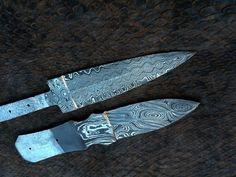 2,CUSTOM HANDMADE DAMASCUS steel HUNTING blanks blade KNIVE(TWIST&LADDER)PATTERN #HANDMADE