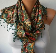Women  Scarf  Headband Necklace Cowl with Lace  by fatwoman, $17.00