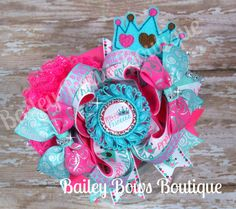 Pretty Princess Stacked OTT Girls Hair Bow with Felt Embellishment and Lace Accent