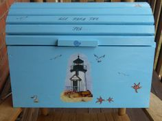 lighthouse/seashell storage chest by tuttomare on Etsy, $60.00