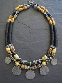 Items similar to Double Strand African Trade Bead Necklace with Silver Coin Pendants on Etsy Bohemian Jewellery, Hippie Jewelry, Tribal Jewelry, Beaded Jewelry, Beaded Necklace, Strand Necklace, Hippie Boho, Necklace Set, Pearl Necklace