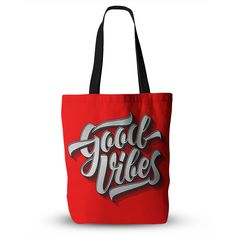 """Roberlan """"Good Vibes 2016 """" Red Typography Everything Tote Bag"""