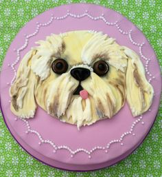 Handmade designed by Lady Luck's House of Cakes x Pretty Cakes, Cute Cakes, Beautiful Cakes, Puppy Dog Cakes, Hand Painted Cakes, Cute Dogs Breeds, Dog Birthday, Birthday Cake, Puppy Party