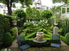 small monochromatic and elegant garden - topiary, english box, urns and gravel