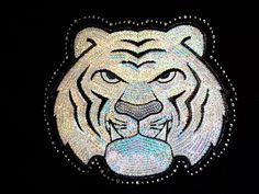 Tiger Face - Head - Silver - Team Mascot - Sequin and Rhinestone Iron on Transfer J8564
