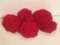 Six Red Burlap Flowers. $10.00, via Etsy.