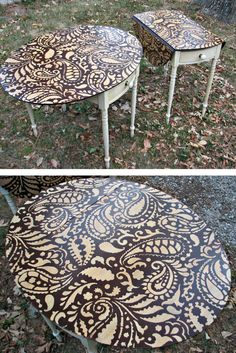 Amazing DIY Stenciled table for kitchen decor I actually have a old table that would be a lot of fun to do a cool design on Refurbished Furniture, Repurposed Furniture, Furniture Makeover, Painted Furniture, Painted Chairs, Furniture Projects, Wood Projects, Diy Furniture, Furniture Stencil