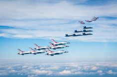 Historic Unity of Flight - US Navy's Blue Angels, Air Force Thunderbirds and Canadian Snowbirds fly together over Lake Eerie PA on August 2018 Military Jets, Military Aircraft, Us Navy Blue Angels, Close Air Support, Aircraft Engine, Us Air Force, Air Show, Fighter Jets, Airplanes