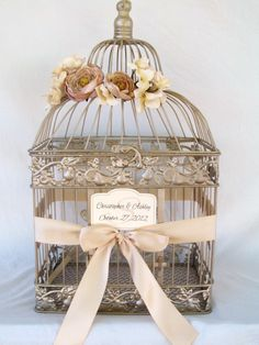 Champagne Bird Cage Card Box With Champagne Ranunculus / Wedding Card Holder Birdcage / Wedding Birdcage. $62.00, via Etsy.