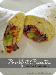 This is going in our meal rotation! Breakfast Burrito Bars from www.SomewhatSimple.com #burrito #breakfast