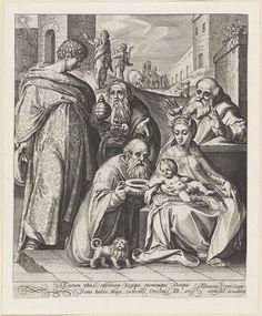 Anonymous | Aanbidding door de koningen, Anonymous, Assuerus van Londerseel, Assuerus van Londerseel, 1594 - 1635 | De drie koningen bieden hun geschenken aan aan het Christuskind dat bij Maria op schoot ligt. De voorste koning knielt. Naast hem een hond. Achter Maria staat Jozef. Op de achtergrond een deel van de stoet van de koningen met een olifant en dromedarissen. Linksboven de ster van Betlehem. Onder de voorstelling een tweeregelige tekst in het Latijn.