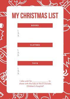 Red Christmas Pattern Christmas Wish List