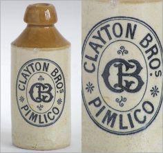 1800s stoneware ginger beer bottle: Clayton Bros, Pimlico