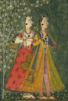 partial - A Nayika and attendant. Basohli, Kathua District, ca 1690 India