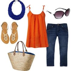 Orange and Blue Beach Outfit, created by kajora on Polyvore