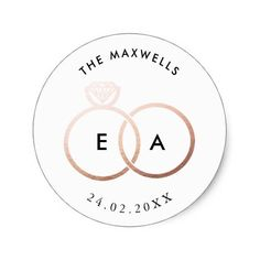 Shop Modern Rose Gold Rings Custom Wedding Sticker created by Personalize it with photos & text or purchase as is! Titanium Wedding Rings, Custom Wedding Rings, Silver Wedding Rings, Silver Rings, Silver Weddings, Silver Necklaces, Wedding Favours Rose Gold, Silver Wedding Invitations, Wedding Stickers