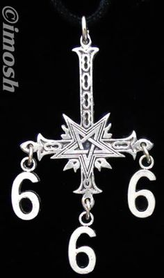 pictures of upside down crosses | NECKLACE - pewter UPSIDE DOWN CROSS pendant 666 charms - SATANIC - NEW ...