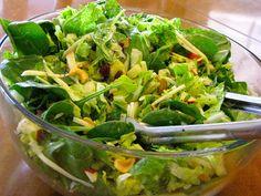 Cashew Apple Salad, bag of baby spinach, Romaine lettuce cut up, swiss cheese shredded, 3 large apples cut in chunks, cashews, craisins, Drsg: 3/4 c sugar, 1 tsp salt, 1 cup conola oil 1/3 cup apple cider vinegar 1 T poppy seeds, 1 tsp dry mustard