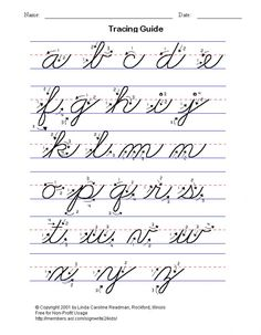 practice cursive writing, full alphabet lower and upper case - free printables