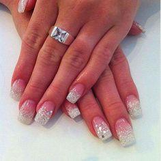 wedding(ish) sparkle set Classic Pink White Acrylic Sculpts custom gel mix white silver sequin glitz haze LED-polish-manicure-OPI-Nail-Polish-Lacquer-Pedicure-care-natural-Gel-Nail-Polish-beauty-tips-Acrylic-Nails-Nail-Art-USA-UK