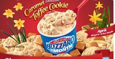 The Caramel Toffee Cookie Blizzard has toffee-caramel and toffee cookie pieces wrapped in creamy vanilla soft serve. Dairy Queen Soft Serve Recipe, Snack Recipes, Dessert Recipes, Snacks, Dessert Ideas, Cream Restaurant, Restaurant Recipes, Queens Food, Toffee Cookies