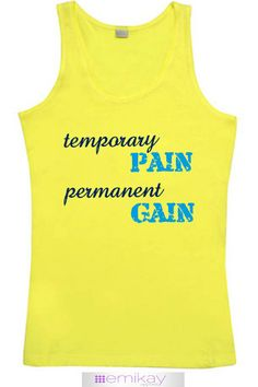 Fitness Tank Temporary Pain Permanent Gain. Workout tank top. Exercise shirt. Fitness top. Crossfit shirt. Running. Motivational. Racerback. Quote Tank. Running shirt. Workout tshirt. Motivational Quote. Fitness Quote