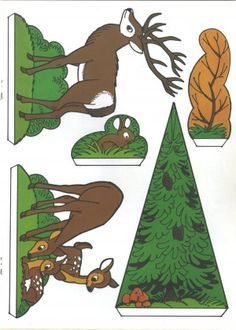 Handicraft sheet: Fix and Foxi Nature Park - Kaukapedia Easter Crafts For Kids, Diy For Kids, Papercraft Anime, Diy Paper, Paper Crafts, Fall Preschool Activities, Woodland Animals, Forest Animals, Parchment Cards