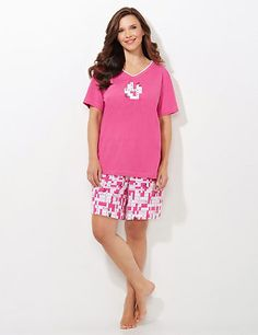 Tell your mom she's the best ever with comfortable pajamas for Mother's Day!  Best Mother Ever Pajama Set | Catherines Celebrate Mom with our clever crossword pajama set. The V-neck top features a crossword design filled out with three words: Best. Mother. Ever. The matching boxer sleep short takes the crossword theme to the next level with an allover print. Top features short sleeves and the shorts are complete with an elastic waist. For your comfort, Catherines sleepwear has been made…