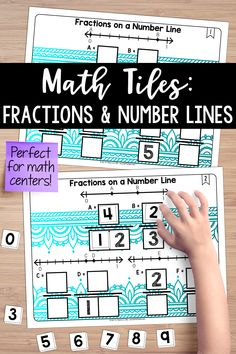 I love teaching fractions using number lines. This math center activates critical thinking and problem-solving skills, all while building a true understanding of the portions. Students must place 10 number tiles (0-9) on the math tile cards to correctly label various fractions on a number line. Teaching Fractions, Math Fractions, Math Resources, Math Activities, Math Games, Line Math, Teaching Place Values, Teaching Critical Thinking, Sixth Grade