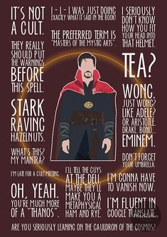 Who cannot be a fan of Benedict Cumberbatch or our very own Marvel superhero Doctor Strange? Check out our awesome Doctor Strange poster collection. Marvel Jokes, Marvel Avengers, Marvel Comics, Avengers Quotes, Marvel Funny, Marvel Heroes, Loki Quotes, Marvel Wallpapers, Avengers Wallpaper