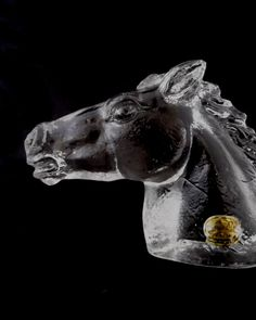 Jablonecke Sklarny -- beautiful solid glass horse bust / horse head sculpture -- Czech art glass -- with label on Etsy, $25.85