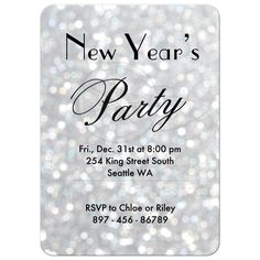 """Time to Drink Champagne and Dance on the Table"" on silver sparkles New Year's Eve Party Invitation Holiday Party Invitations, New Years Eve Party, Winter Holidays, Invitation Design, Holiday Parties, Sparkles, Rsvp, Party Time, Champagne"