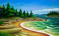 "Mermaid Cove by Dana Irving. Oil on canvas, 30 "" X 2013 Landscape Illustration, Landscape Art, Landscape Paintings, Illustration Art, Art And Craft Design, Canadian Artists, Fabric Painting, Painting Canvas, Tree Art"