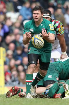 Ben Youngs of Leicester passes the ball during the Aviva Premiership semi final match between Leicester Tigers and Harlequins at Welford Road on May 11, 2013 in Leicester, England.