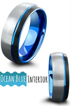 I finally found a unique mens wedding ring for my future husband. He is a surfer so this ring totally it for him. I love the three tone colors of this tungsten ring. Black, silver, and ocean blue.