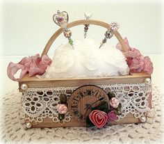 Vintage Clock themed Pin Cushion in Wood Basket with 3 beautiful Handmade Stick Pins on Etsy, $21.50