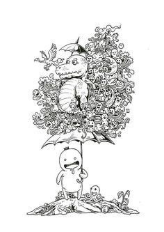 Дудлинг Cute Doodle Art, Cool Doodles, Doodle Art Designs, Ant Drawing, Doodle Art Drawing, Spring Coloring Pages, Coloring Book Pages, Doodle Magic, Doodle Inspiration