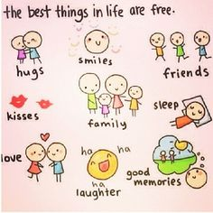"{Quote} ""The best thing in life are free.""  Hugs, smiles, friends, kisses, family, sleep, love, laughter, good memories…  We are all rich!"