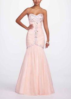 Beautiful strapless sweetheart neckline prom dress with jewels