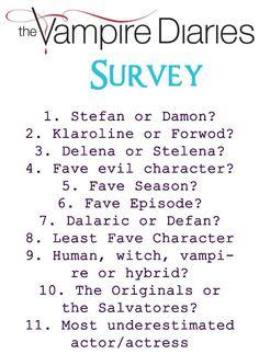 1. Stefan 2.Klaroline 3.Stelena 4.Klaus 5.Season 1 6. Season 2 Episode 7 (Masquerade) 7.Dalaric 8. Bonnie 9.Vampire 10. Salvatores 11.Candice Accola (Caroline)