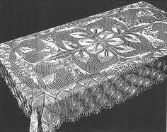 Flammenblume - Rectangular Tablecloth In Knitted Lace By Herbert Niebling - PDF - US Letter Paper Size