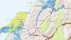 A map showing areas thought to be under threat by flooding and earthquakes.