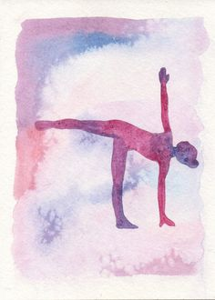 Half Moon Pose Watercolor Print, Yoga Silhouette