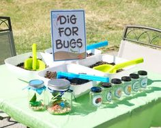BUG BIRTHDAY PARTY - ideas, tutorials, free printables, food and more for your next bug birthday party. blue and green color scheme with bright bugs everywhere!
