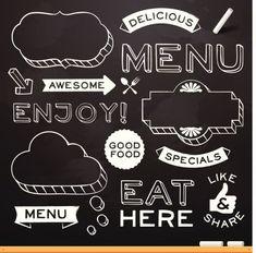 Chalkboard Restaurant Menu Elements Vector Art 174244112