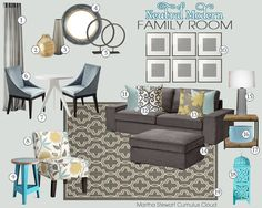 Neutral Modern Living Room Mood Board | Teal and Lime Interiors